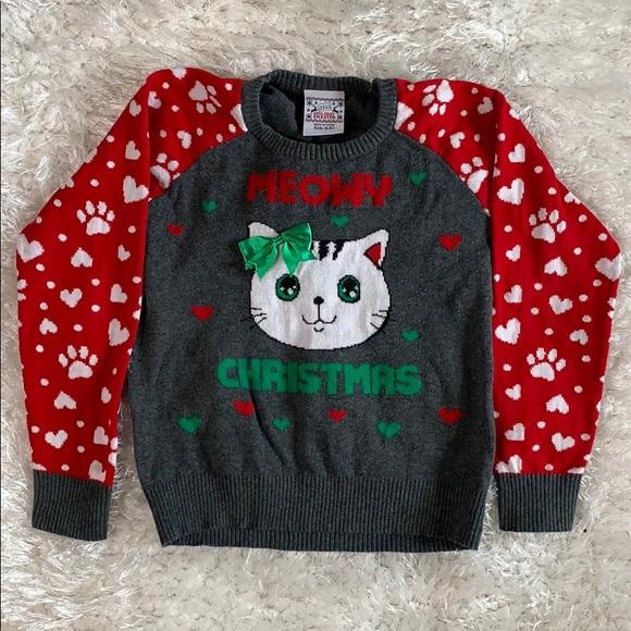 Meowy Christmas Sweater.Meowy Christmas Girls Ugly Christmas Cat Sweater